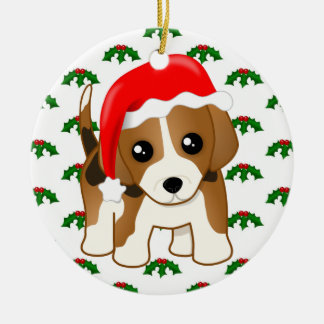 Funny Kawaii Beagle Puppy Dog Festive Cartoon Christmas Ornament