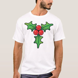 Funny Kawaii Christmas Holly Berry Mens Tshirt