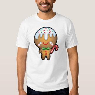 Funny Kawaii Gingerbread Man Christmas Mens Tee