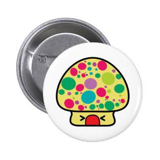 funny kawaii toadstool mushroom house 6 cm round badge