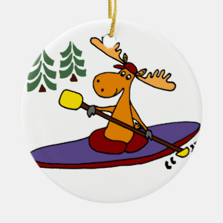 Funny Kayaking Moose Christmas Ornament