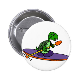 Funny Kayaking Sea Turtle 6 Cm Round Badge