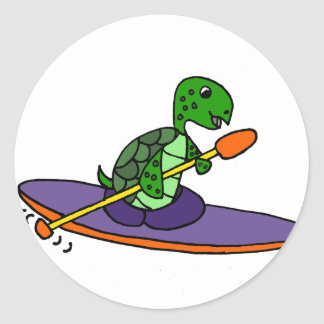 Funny Kayaking Sea Turtle Classic Round Sticker