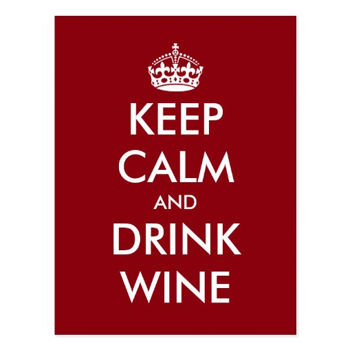 Funny Keep calm and drink wine postcards for party