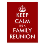 Funny keep calm family reunion postcards
