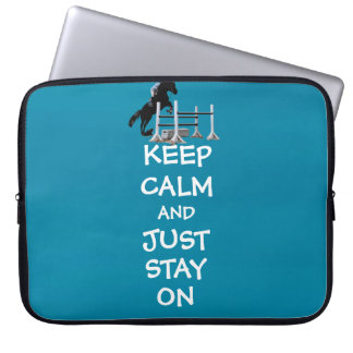 Funny Keep Calm & Just Stay On Horse Laptop Sleeve