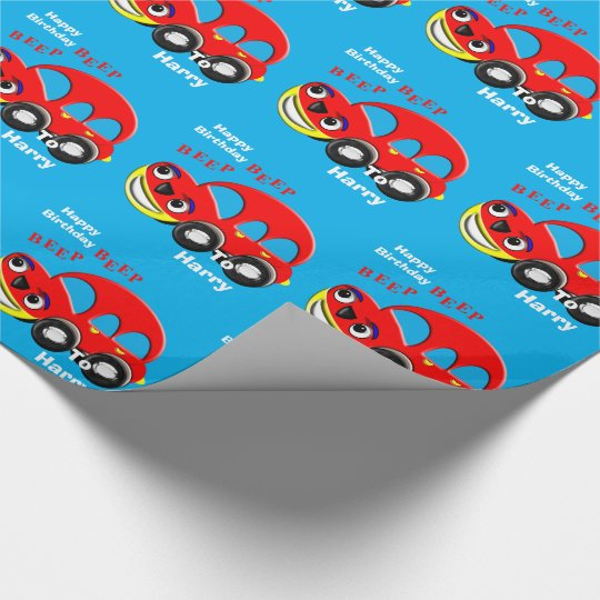 Funny Kids Cartoon Car Theme Personalised Wrapping Paper