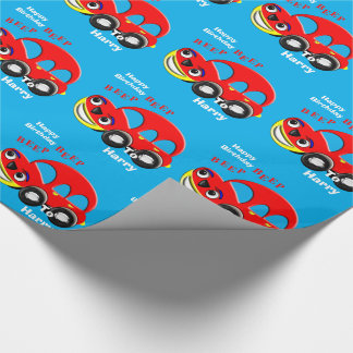 Funny Kids Cartoon Car Theme Personalized Wrapping Paper