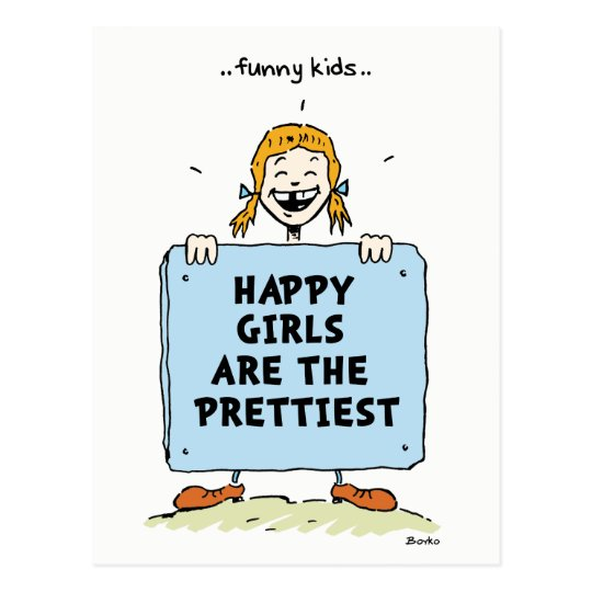Funny Kids Happy Girls Quotes Postcard
