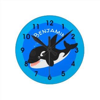 Funny killer whale orca cute cartoon illustration round clock