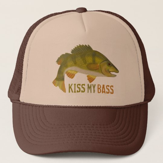 Funny Kiss My Bass Fish Fishing Angler Humour