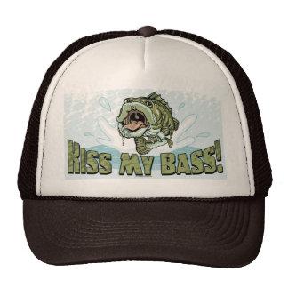 Funny Kiss My  Bass Gift Ideas for Fishermen Trucker Hat
