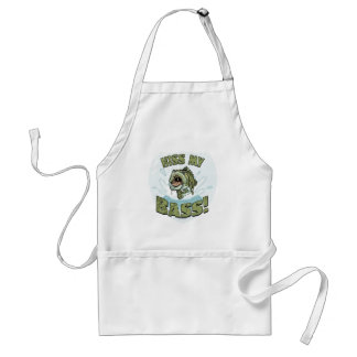 Funny Kiss My  Bass Gift Ideas for Fishermen Standard Apron