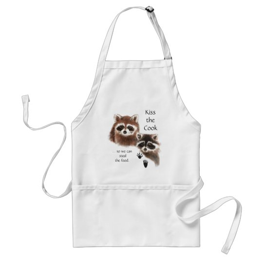 Funny, Kiss the Cook Cute Racoon Humour Quote