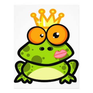 funny kissed frog prince cartoon full color flyer