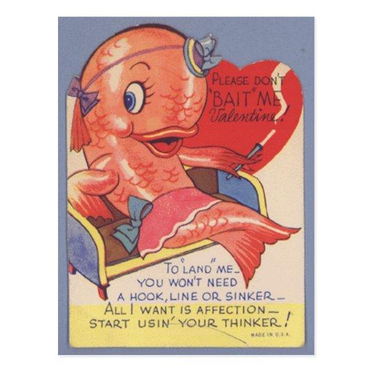 funny kitsch Vintage fish valentine Postcard