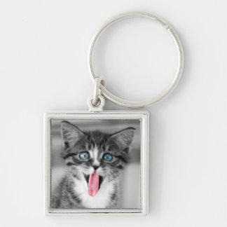 Funny Kitten With Tongue Hanging Out Key Ring