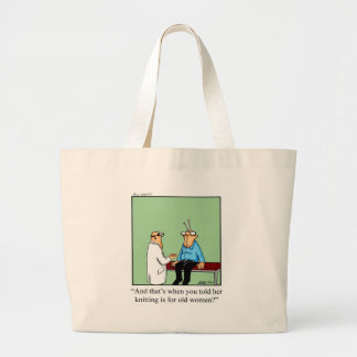 Funny Knitting Cartoon Bag