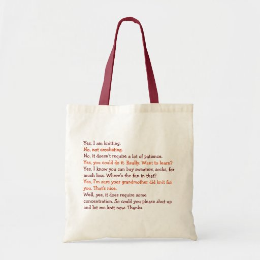 Funny Knitting Conversation Mum Mothers Day Yarn Tote Bag