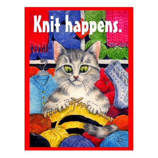Funny knitting kitty postcard