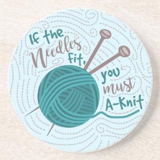 Funny Knitting Knitter Yarn Needles Humor Beverage Coasters
