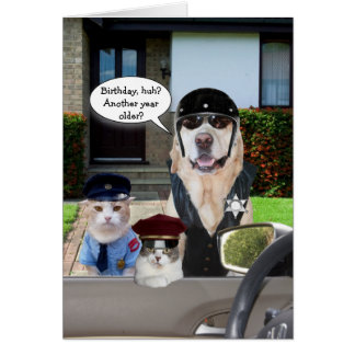 Funny Lab & Cat Officers Birthday Greeting Card