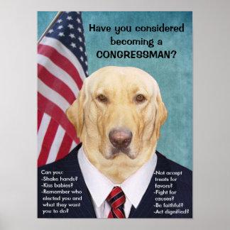 Funny Lab Congressman Poster