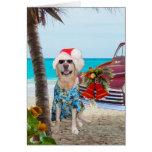 Funny Lab/Dog Hawaiian/Surfer Christmas