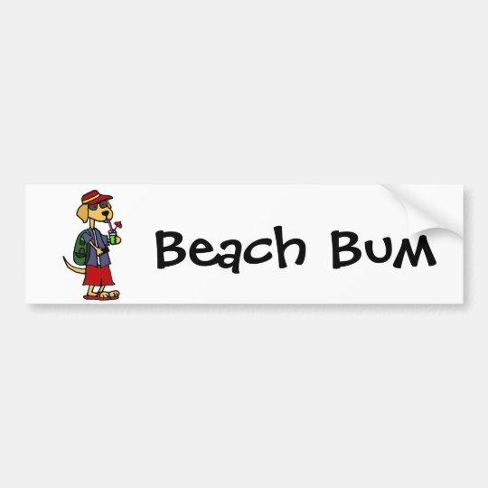 Funny Labrador Retriever at the Beach Cartoon Bumper Sticker