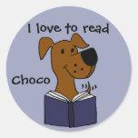 Funny Labrador Retriever Reading a Book Round Sticker