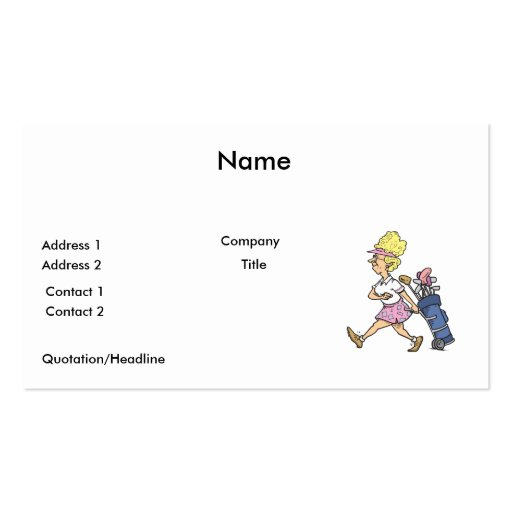 funny lady golfer cartoon graphic business card template