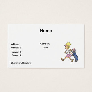 funny lady golfer cartoon graphic business card