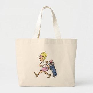 funny lady golfer cartoon graphic jumbo tote bag
