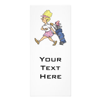 funny lady golfer cartoon graphic personalised rack card