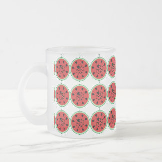 Funny Ladybug and Watermelon Frosted Glass Mug
