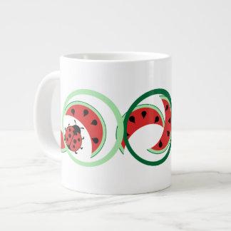 Funny Ladybug and Watermelon 20 Oz Large Ceramic Coffee Mug