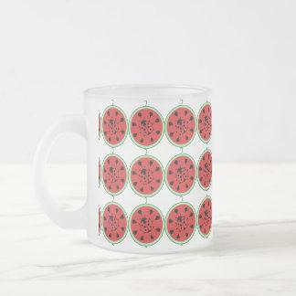 Funny Ladybug and Watermelon 10 Oz Frosted Glass Coffee Mug