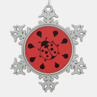 Funny Ladybug and Watermelon Snowflake Pewter Christmas Ornament