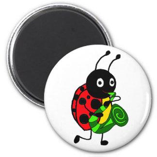 Funny Ladybug Playing Saxophone Art Magnet