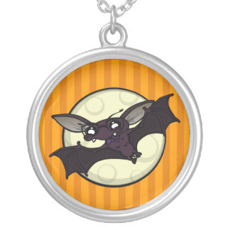 FUNNY LARGE ROUND HALLOWEEN HIPSTER BAT NECKLACE