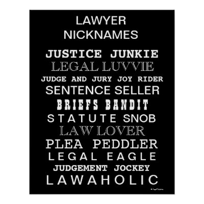 Funny Lawyer Nicknames and Synonyms Office Poster Zazzle
