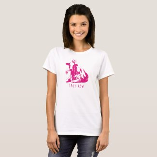 Funny 'Lazy Cow' design in Magenta T-Shirt