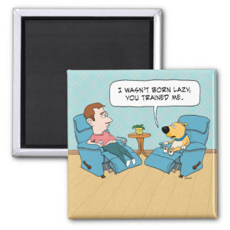 Funny Lazy Dog Square Magnet