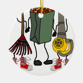 Funny Leaf Blowing Yard Work Cartoon Characters Christmas Ornament