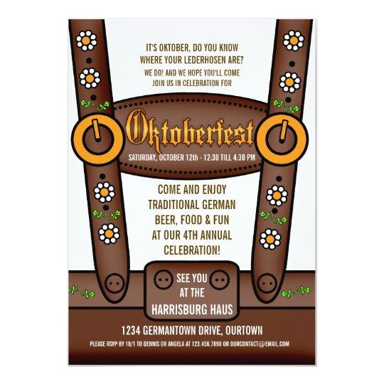 Funny Lederhosen Oktoberfest Party Invitations
