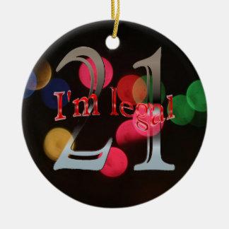 Funny Legal 21st Birthday Bokeh Christmas Lights Christmas Ornament