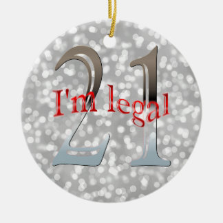 Funny Legal 21st Birthday Bokeh Silver Christmas Christmas Ornament