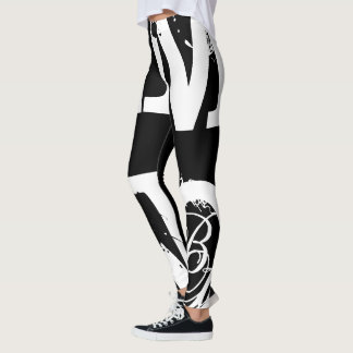 Funny Leggings Alphabet Letter Black White Legging