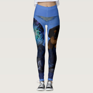 Funny Leggings with Wrapped Fairy and Puppy Image