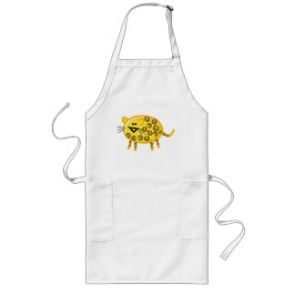 Funny Leopard on White Long Apron